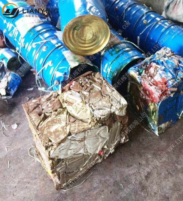 废油漆桶打包机 油漆桶压扁机